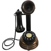 Telefone Antigo Retrô Castiçal em Metal Cobre