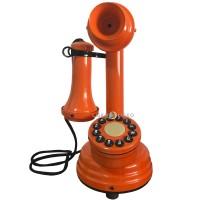 Telefone Antigo Retrô Castiçal em Metal Laranja