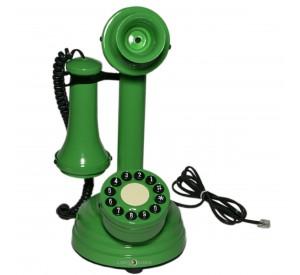 Telefone Antigo Retrô Castiçal em Metal Verde