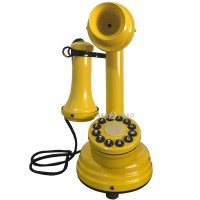 Telefone Antigo Retrô Castiçal em Metal Amarelo