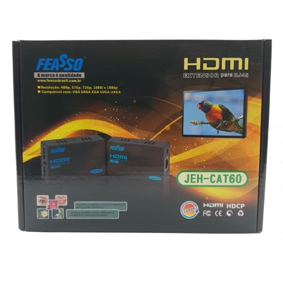 Extensor de sinal CAT60 HDMI com IR - até 60m via cabo RJ45 JEH-CAT60