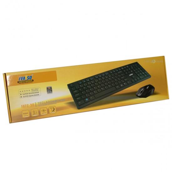 Teclado e Mouse sem Fio Chocolate Ultrafino FATC-30