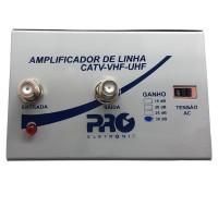 Amplificador de Linha VHF UHF HDTV TV Digital 30dB PQAL-3000