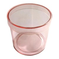 Caixinha de Acrílico Redonda Rosa 4,5cm - 100 unidades