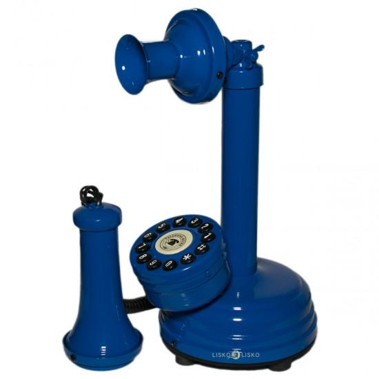 Telefone Antigo Retrô Castiçal em Metal Azul