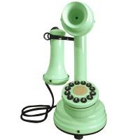 Telefone Antigo Retrô Castiçal em Metal Verde Menta