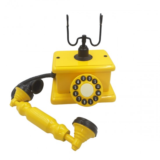 Telefone Antigo Retrô de Mesa em Madeira e Metal Amarelo