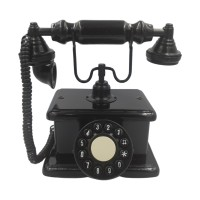 Telefone Antigo Retrô de Mesa em Madeira e Metal Preto