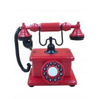 Telefone Antigo Retrô De Mesa em Madeira e Metal Vermelho