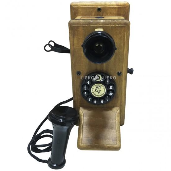 Telefone Antigo Retrô De Parede em Madeira e Metal Vintage