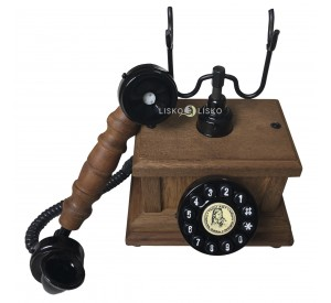 Telefone Antigo Retrô De Mesa em Madeira e Metal