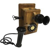 Telefone Antigo Retrô De Parede em Madeira e Metal